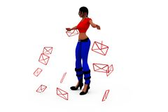 3d woman message concept Stock Photo