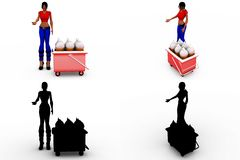 3d woman milk bottles concept collections with alpha and shadow channel Stock Images