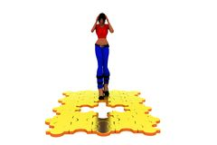 3d woman missiing piece concept Stock Photos
