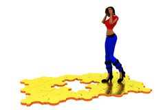3d woman missiing piece concept Royalty Free Stock Photos