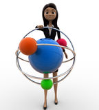 3d woman with model of atom concept Stock Images