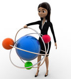 3d woman with model of atom concept Stock Image