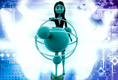 3d woman with model of atom illustration Royalty Free Stock Photography