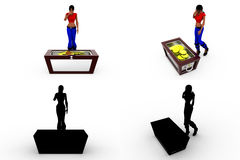 3d woman with money box Concept Collections With Alpha And Shadow Channel Stock Photos