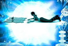3d woman with mouse and click illustration Royalty Free Stock Photo