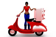 3d woman moving locker concept Royalty Free Stock Photo