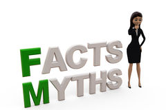 3d woman myths facts concept Royalty Free Stock Photos
