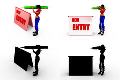 3d woman new entry concept collections with alpha and shadow channel Royalty Free Stock Photos