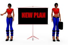 3d woman new plan concept Stock Images