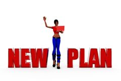 3d woman new plan concept Royalty Free Stock Images