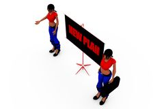 3d woman new plan concept Royalty Free Stock Image