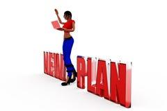 3d woman new plan concept Stock Photos