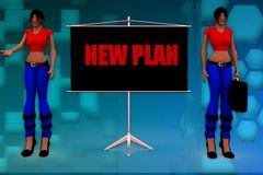3d woman new plan illustration Stock Photography