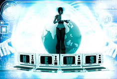 3d woman with news on tv and earth model illustration Stock Image