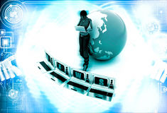 3d woman with news on tv and earth model illustration Royalty Free Stock Photo