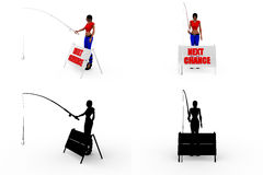 3d woman next chance concept collections with alpha and shadow channel Stock Image