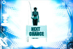 3d woman with next chance sing board and fishing illustration Stock Photos