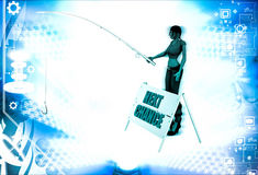 3d woman with next chance sing board and fishing illustration Royalty Free Stock Photography