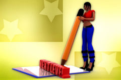 3d woman next level book illustration Royalty Free Stock Photos