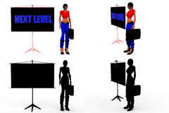 3d woman next level concept Collections With Alpha And Shadow Channel Stock Photo