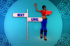 3d woman next level direction illustration Royalty Free Stock Photo