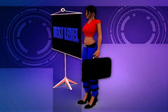 3d woman next level illustration Royalty Free Stock Photography