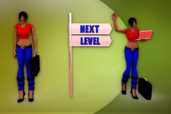 3d woman next level sign illustration Stock Image