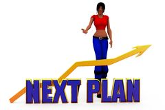 3d woman next plan  concept Stock Photos