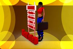 3d woman next step illustration Stock Photos