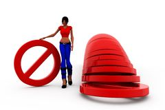 3d woman no entry concept Royalty Free Stock Images