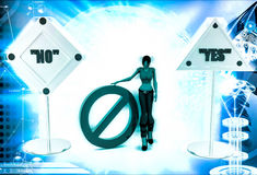 3d woman no and yes sign board and stop symbol illustration Stock Image