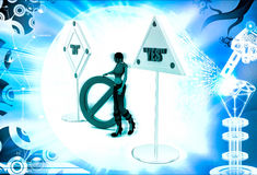 3d woman no and yes sign board and stop symbol illustration Royalty Free Stock Photography