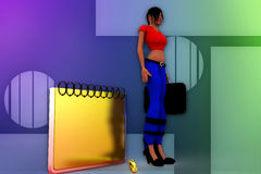 3d woman notes illustration Royalty Free Stock Image