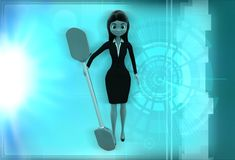 3d woman with oar illustration Royalty Free Stock Photography