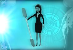 3d woman with oar illustration Stock Photo