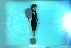3d woman with oar illustration Stock Image