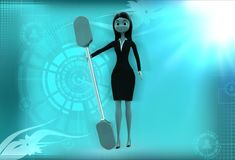 3d woman with oar illustration Stock Images