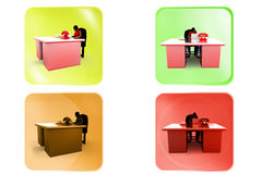 3d woman office table icon Royalty Free Stock Photo
