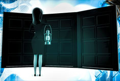3d woman with oil lamp and three different doors illustration Stock Photos