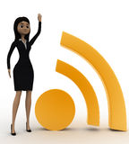 3d woman with one hand up and wifi icon concept Stock Photo