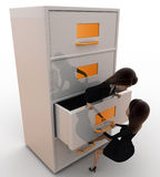 3d woman open drawer concept Stock Image