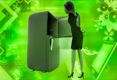 3d woman open refrigerator to take apple out illustration Royalty Free Stock Images