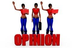 3d woman opinion concept Royalty Free Stock Photos