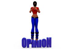 3d woman opinion host concept Stock Photos