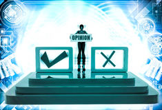 3d woman with opinion and right and wrong check box illustration Stock Photos