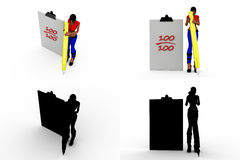 3d woman 100 out of 100 concept collections with alpha and shadow channel Royalty Free Stock Image