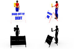3d woman out of debt concept Collections With Alpha And Shadow Channel Royalty Free Stock Photo