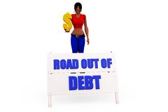 3d woman out of debt concept Stock Images