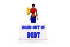 3d woman out of debt concept Royalty Free Stock Image