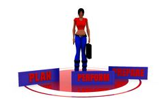 3d woman 3p concept Royalty Free Stock Images
